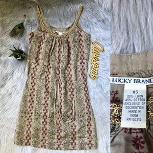 LUCKY BRAND Tan Embroidered Floral Tunic